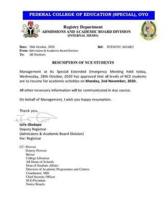 FCE (Special) Oyo resumption date
