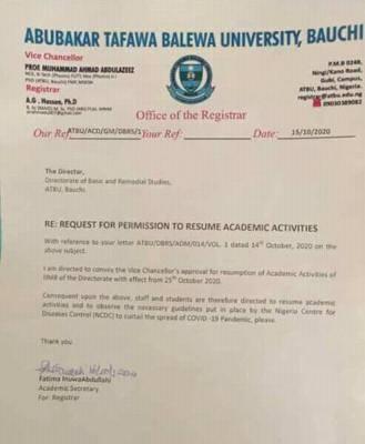 ATBU announces resumption of staff