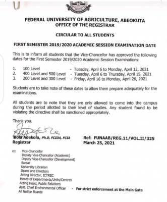 FUNAAB announces date for commencement of 1st semester exam, 2019/2020