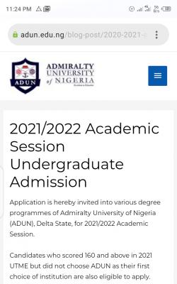 Admiralty University Post-UTME/DE Screening Form For 2021/2022