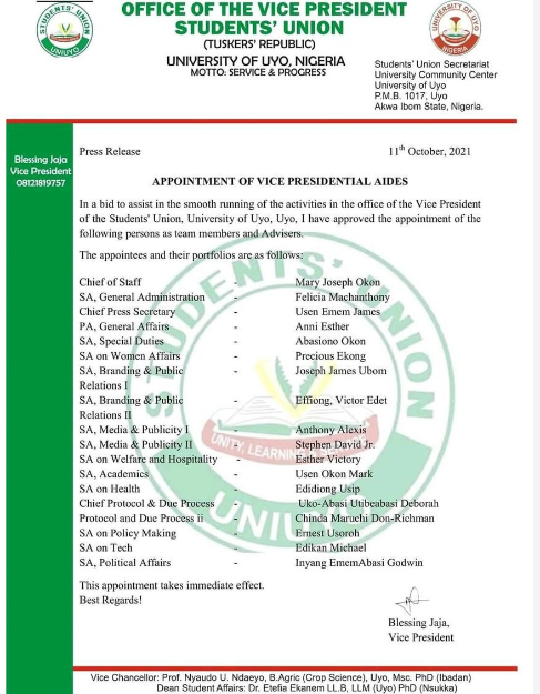 UNIUYO SUG vice-president appoints 18 aides as she assumes office