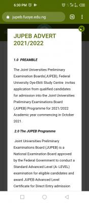 FUOYE JUPEB admission form for 2021/2022 session