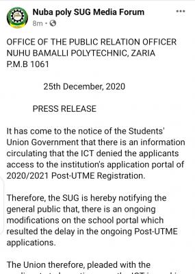 NUBAPOLY notice to 2020 Post-UTME candidates