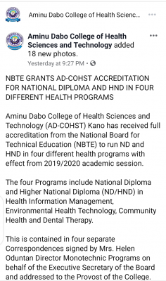AD-COHST gets approval to run ND/HND courses in four different health-related disciplines