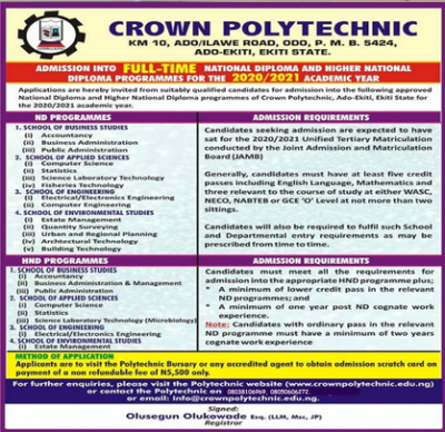 Crown Polytechnic admissison for 2020/2021 session