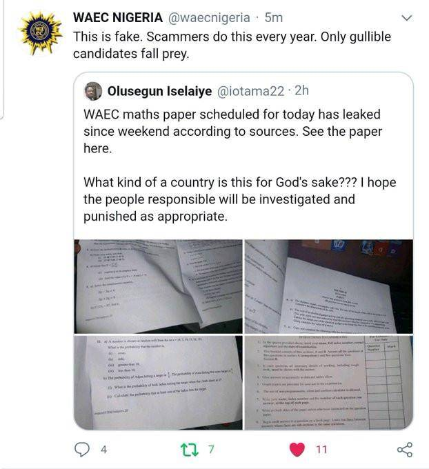 WAEC Debunks Rumors that Maths Question Paper got Leaked Prior to the Exams