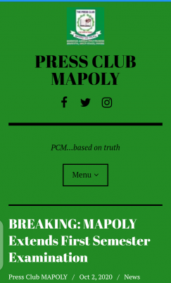 MAPOLY Extends First Semester Examination