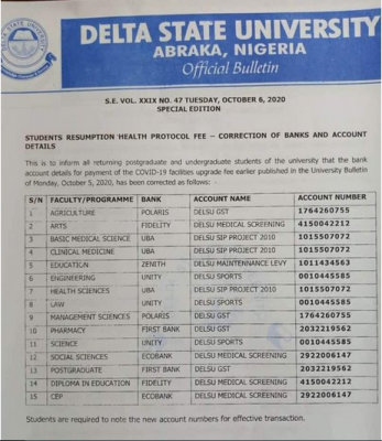 DELSU notice on Students' Resumption Protocol Fee