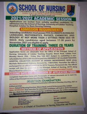 UNICAL Teaching Hospital School of Nursing, 2021/2022 admission form