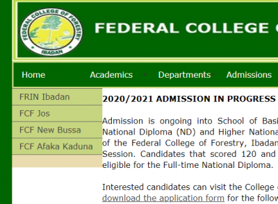Federal College of Forestry, Ibadan admission for 2020/2021 session