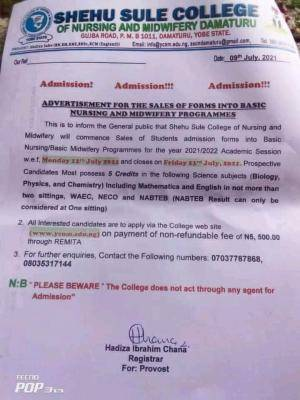 Shehu Sule College Of Nursing and midwifery 2021/2022 Admission