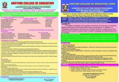 ACEONDO Part-Time NCE (Sandwich) Admission 2017/2018 Announced