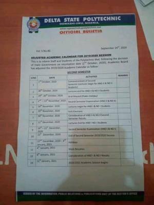 Delta Poly Ogwashiuku Polytechnic resumption and Adjusted Calender for 2nd semester 2019/2020