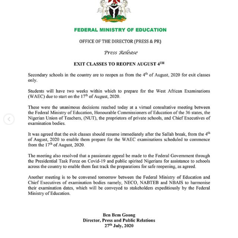 Secondary Schools to Reopen on August 4, for Graduating Classes - FG
