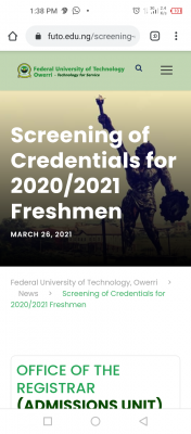 FUTO notice on screening of credentials for 2020/2021 newly admitted students