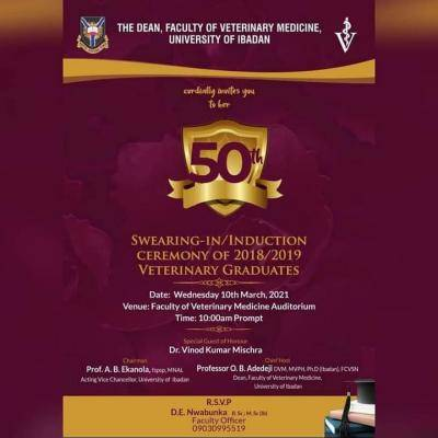 UI announces faculty of Veterinary Medicine 50th induction ceremony