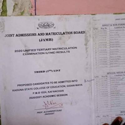 Kaduna State College of Education 3rd batch admission list, 2020/2021