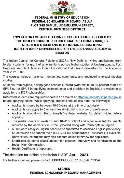 Indian government invites Nigerian students to apply for scholarships