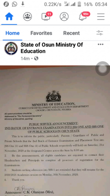 Osun state 2nd batch entrance examination into public schools date