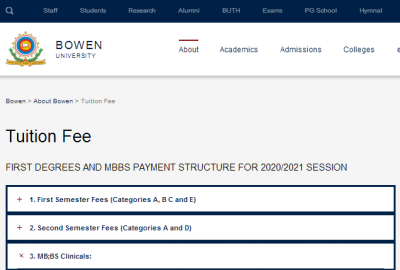 Bowen University school fees for the 2020/2021 session
