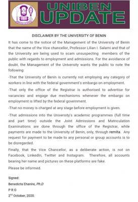 University of Benin disclaimer notice to the general public