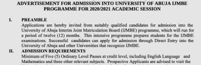 UNIABUJA remedial admission form for the 2020/2021 session