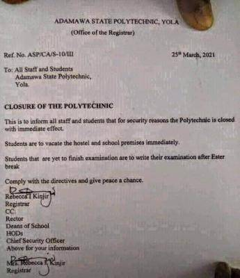 Adamawa state polytechnic announces closure due security reasons