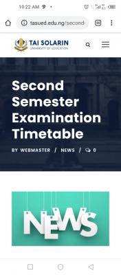 TASUED second semester examination timetable, 2019/2020 session