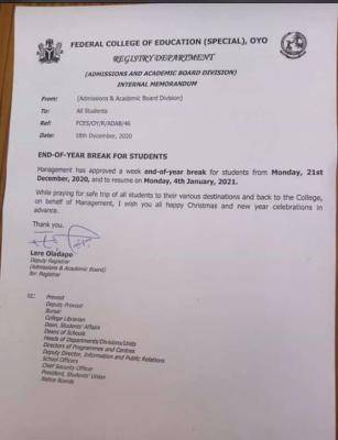 FCE, Oyo (special) notice on end of year break for students