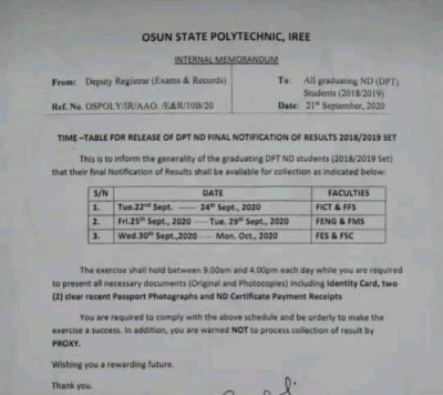 Osun Poly Notice to Students on Issuance of Statement of Result