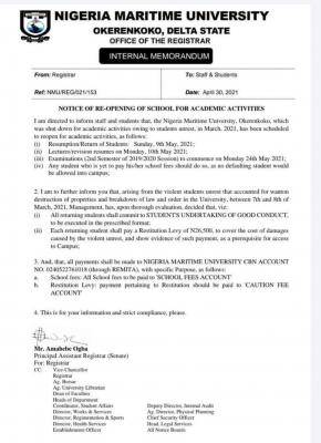 Nigeria Maritime University notice on resumption of academic activities