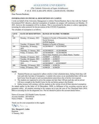 Augustine University resumption notice