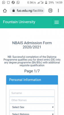 Fountain University NBAIS Diploma admission for 2020/2021 session