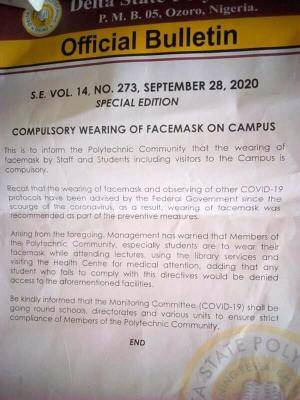 Delta State Poly Otefe notice on compulsory wearing of face mask