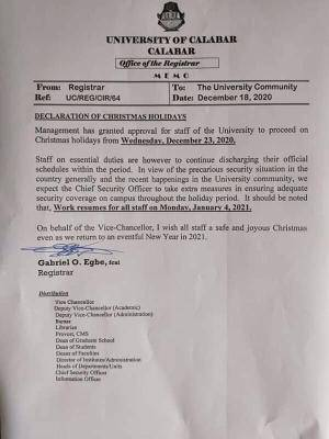 UNICAL notice on Christmas break