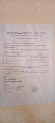 Rufus Giwa Polytechnic amended first semester academic calendar, 2020/2021 session