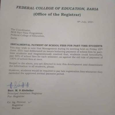 FCE, Zaria notice to Part-time Students on payment of school fees in instalments