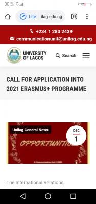 UNILAG calls for application into 2021 Erasmus+ Programme