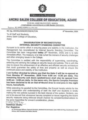 Aminu Saleh College of education security update