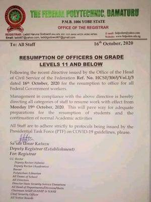 Federal poly Damaturu directs staff on grade 11 and below to resume