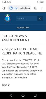 UNIPORT announces Post-UTME registration deadline for 2020/2021 session