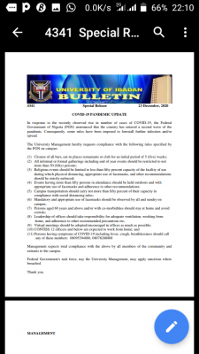 University of Ibadan COVID-9 pandemic update