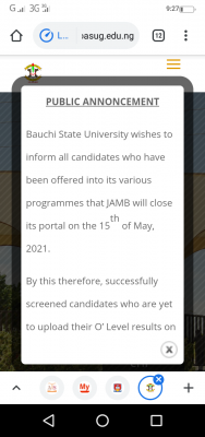 BASUG notice to 2020 post-UTME candidates on O'level result upload
