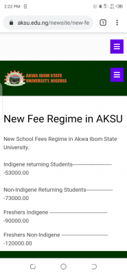 AKSU new fee regime for new and returning students