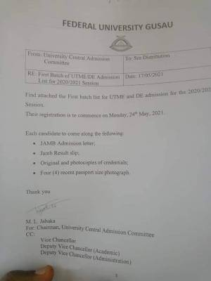 FUGUSAU UTME/DE admission list, 2020/2021 available on the school's notice board