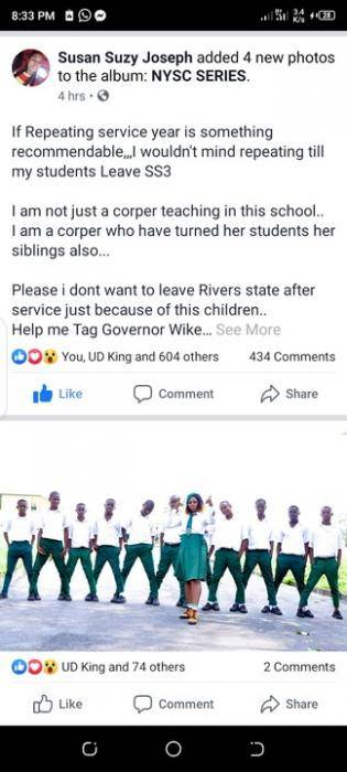 Corps Member Begs to Repeat her Service Year in Rivers State