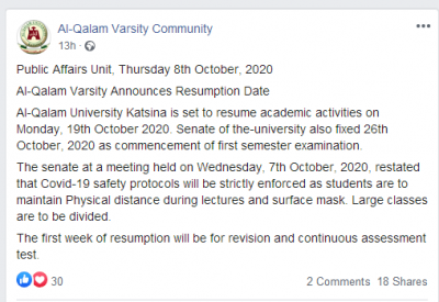 Al-Qalam University announces resumption date