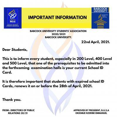 BUSA notice on forthcoming examination