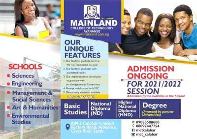 Mainland College of Technology Admission for 2021/2022 session
