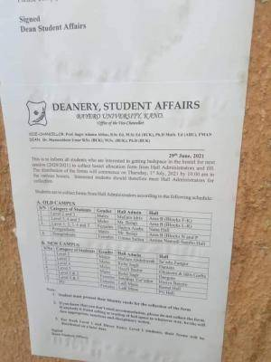 BUK directs students to vacate hostels, gives notice regarding 2020/2021 hostel allocation
